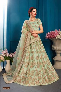 Sensible colors and excellent designs make worth the take this Pista Color Casual Wear Embroidered Lehenga Choli for party and reception. This designer lehenga available with different sizes. Ghagra Choli, Lehenga Choli Online, Bridal Lehenga Choli, Indian Lehenga, Choli Designs, Lehenga Designs, Lehenga Online Shopping, Indian Wedding Wear, Indian Bridal
