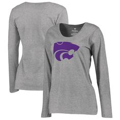 Kansas State Wildcats Fanatics Branded Women's Plus Sizes Primary Team Logo Long Sleeve T-Shirt - Ash