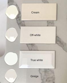 tiles Patterns Two Steps to Choosing the Right White Tile - Maria Killam - The True Colour Expert White Paint Colors, White Paints, Wall Colors, Neutral Paint, Colours, White Kitchen Decor, Kitchen Ideas, Kitchen Updates, Kitchen Paint