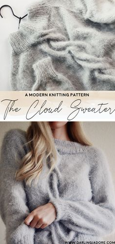 The Cloud Sweater Knitting Pattern - Darling Jadore Sweater Knitting Patterns, Knit Patterns, Knitted Shawls, Cable Knit Sweaters, Knitwear, Knit Crochet, Baby, Outfits, Inspiration
