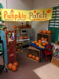 No funds for field trips? No problem! Welcome to my classroom pumpkin patch in the dramatic play learning lab!