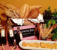 """Diapositiva1Para resolver el tema """"comida"""" que mejor que una """"Bruschetta Bar"""", es una idea maravillosa no solo para fiestas italianas, consiste en colocar diferentes panes, aceites aromatizados, verduras asadas, quesos, tomatitos horneados, cebollas caramelizadas, aceitunas, prosciutto, peras horneadas con gorgonzola, rúcula, ricotta, en fin todo aquello con lo que puedan prepararse una bruschetta (montadito)."""