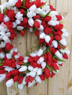 Valentines Wreath Large Tulip Wreath Spring by MaineMadeWreaths