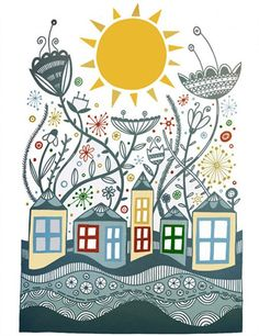 Freebie: The sun shines over floodwaters Home Wall Painting, Diy Painting, Pop Art, Colorful Drawings, Easy Drawings, Doodle Art, Poster A3, Doodle Patterns, Illustrations And Posters
