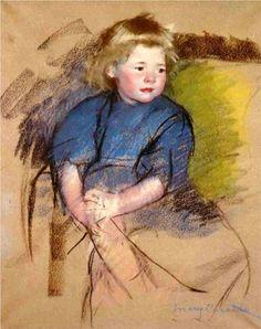 Mary Cassatt (American:1844–1926) - Portrait of a Young Girl (Simone) -1903