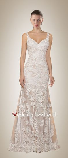 Charming Straps Backless Sweep Train Wedding Dress with Elegant Lace Overlay