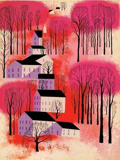 Atardecer de otoño en la provincia. Por Eyvind Earle.