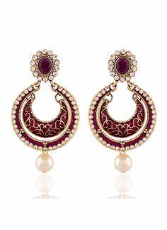 Incredible Maroon & Off White Color Earrings Jewellery Online