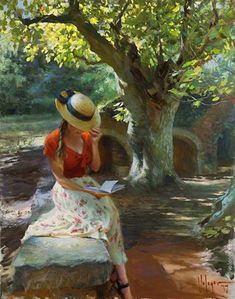 "Vladimir Volegov ""It's a wonderful day"", cm, oil on canvas. Reading Art, Woman Reading, Fine Art, Woman Painting, Community Art, Beautiful Paintings, Romantic Paintings, Figurative Art, Painting Inspiration"