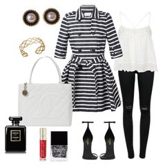 Black&White by xiloveyoustyles on Polyvore featuring polyvore, moda, style, Topshop, RED Valentino, J Brand, Yves Saint Laurent, Chanel, John Hardy, Alice Joseph Vintage, Smith & Cult and Butter London