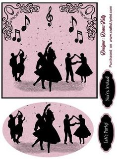 silhouettes lets party on Craftsuprint designed by Donna Kelly - multi purpose card front, dancing silhouettes, includes tags and embelishment, approx 6x6  - Now available for download!