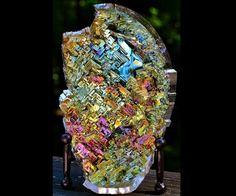 Wild Fire, Metal Crystal Sculpture, Iridescent, Fractal Bismuth Unique 3D Art
