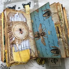 Summer bee journal completed will be listing in my Etsy store tonight Junk Journal, Bullet Journal, Handmade Journals, Handmade Books, Handmade Rugs, Handmade Crafts, Fabric Journals, Art Journals, Journal Covers