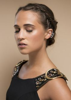 Red carpet hairstyle. Braided updo - Alicia Vikander. Celebrity hairstyle.