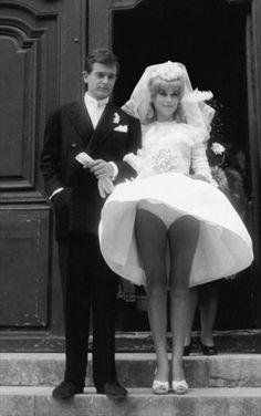 Catherine Deneuve on her wedding day