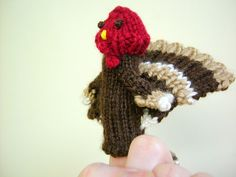 Pattern for a knitted turkey finger puppet...what's not to love? ~s~