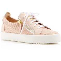 Giuseppe Zanotti Maylondon Snake-Embossed Lace Up Sneakers ($650) ❤ liked on Polyvore featuring shoes, sneakers, blush, snake print shoes, python shoes, lacing sneakers, snakeskin sneakers and giuseppe zanotti trainers
