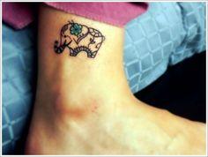Awesome Elephant Tattoo Designs: Cute Elephant Tattoo Designs On Calf ~ Tattoo Design Inspiration Trendy Tattoos, Love Tattoos, Beautiful Tattoos, New Tattoos, Small Tattoos, Tatoos, Ankle Tattoos, Sister Tattoos, Awesome Tattoos