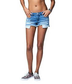 Special Offer: $19.80 amazon.com Look on trend without trying: our Destroyed Medium Wash Cutoff Denim Shorty Shorts feature frayed leg hems that allow the embroidered pocket bags to peek through. Complete your casually cool ensemble with a breezy top and colorful kicks.Slim fit. Approx....