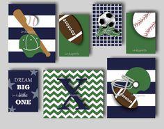 Baseball Football Wall Art Baby Boy Nursery Sports Decor Print Choose Colors Sp1908