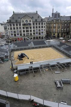 6/21/2015. The beach volleyball courts are built up on Dam Square in the Center of Amsterdam ready for start of the World Championship beach volleyball from June 26 to July 5. The World Championship games are also played in Rotterdam, London and The Hague. #amsterdam #news #and #events
