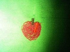 Using freehand embroidery for the first time for the apple on the trees. Not bad!