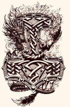 S hammer tattoo ideas шаблон тату, тату ve татуировки. Tattoo Thor, Thor Hammer Tattoo, Norse Tattoo, Celtic Tattoos, Viking Tattoos, Shield Tattoo, Tattoo Wolf, Armor Tattoo, Warrior Tattoos