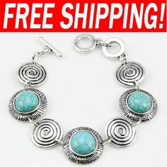 Silver chic Bracelets Bangles with Natural Turquoise gemstones jewellery brt-f75 $4.99