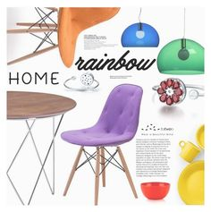 """Rainbow Home"" by totwoo ❤ liked on Polyvore featuring interior, interiors, interior design, home, home decor, interior decorating, Zuo, Kartell, Fiesta and Kate Spade"