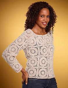 This stylish top is constructed using a circle-in-square motif. Designed by Lily Chin for Lion Brand. (Lion Brand Yarn)
