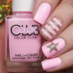 Adorable looking glitter nail art design in posh pink colors and wonderful silver glitter in stars and stripes.