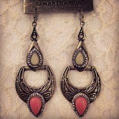 SAMANTHA WILLS - Wandering Souls Earrings; Peach Gold Bohemian Jewellery Statement