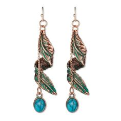 Gen3 Dangle Earrings with Feather Spiral and Stone - Copper/Turquoise, Women's