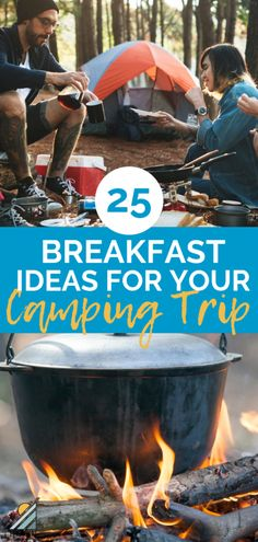 Feeding your camping crew does not have to be hard! These 25 camping breakfast ideas include make-ahead options, plus burritos, casseroles, sandwiches Campfire Breakfast Burritos, Easy Camping Breakfast, Camping Food Make Ahead, Camping Dishes, Camping With Kids, Breakfast Ideas, Camping Kitchen, Camping Hacks, Camping Diy