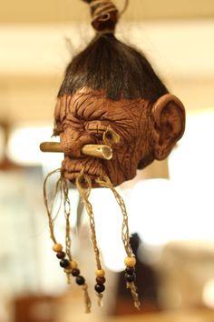 Human Shrunken Head - Just bind it with its hair to your clothing or your armour. An absolute must have for every shaman! //  Menschlicher Schrumpfkopf - die perfekte Trophäe für jeden Schamanen. // #larp #shrunkenhead #roleplay #halloween