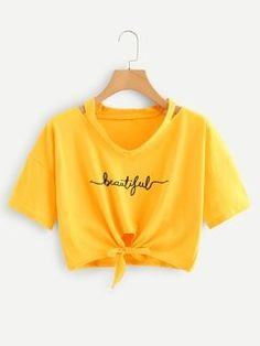 ROMWE offers Letter Print Ripped Neck Knot Tee & more to fit your fashionable needs. Cute Lazy Outfits, Crop Top Outfits, Pretty Outfits, Stylish Outfits, Cool Outfits, Girls Fashion Clothes, Teen Fashion Outfits, Outfits For Teens, Teenager Outfits