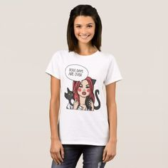 Girl with Cat illustration T-shirt - diy cyo customize create your own personalize