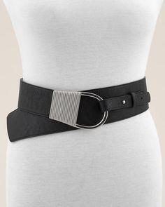 Chico's Athena 3 Size Stretch Belt Black Leather w Silver Buckle SZ M. NWT  $69. #Chicos