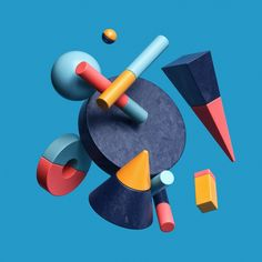Colouful composition of various basic geometric shapes, floating in front of a single coloured background. Delivering the world's best CGI. Discover our exclusive, curated collection of images and animations from leading digital artists. Basic Shapes, 3d Shapes, Geometric Shapes, Shapes Images, 3d Street Art, Greatest Album Covers, Greatest Albums, 3d Figures, Whatsapp Wallpaper