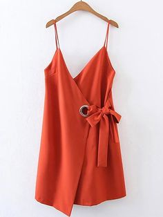 Shop Bow Tie Waist Cami Dress With Ring Detail online. SheIn offers Bow Tie Waist Cami Dress With Ring Detail & more to fit your fashionable needs.Season: Summer Type: Slip Pattern Type: Plain Sleeve Length: Sleeveless Color: Orange Dresses Length: L Red Slip Dress, Long Slip Dress, Orange Dress, Wrap Dress, Mode Outfits, Fashion Outfits, Denim Fashion, Fashion Clothes, Fashion Ideas