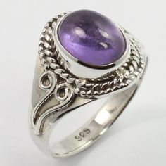 925 Sterling Silver Real AMETHYST Gemstone Handcrafted Jewelry Ring Size US 6.25 #SunriseJewellers