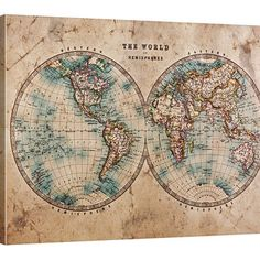 Vintage World Map Large Wall Art Print  -  Wall Art Framed Grunge World Map Canvas Print - Retro World Map Large Canvas Print