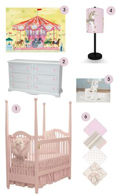 """2014 Year of the Horse 1) Newport Cottages Cottage Crib in Pale Pink. 2) Newport Cottages Taylor 6 Drawer Dresser with scalloped bottom. 3) Oopsy Daisy """"Carousel"""" Art Print 4) Illuminate Designs Toile Carousel lamp. 5) Kid Kraft White Derby Horse Rocker. 6) Doodlefish Peony Crib Bedding Set"""