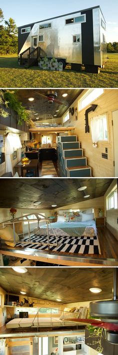Aviation Tiny House (315 sq ft) | cool metallic exterior | Featured on the show Tiny House Nation is the cool aviation-style tiny home. Video excerpt included.