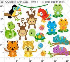 Rainforest clip art Clipart and Digital paper von pixelpaperprints