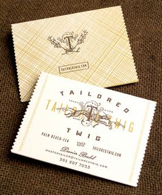 Tailored Twig business card - great illustration, great pattern, and nice detail of the rippled edges