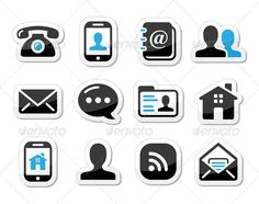 Contact Icons Set as Labels - Mobile, User, Email  #GraphicRiver         Contact icons set for wev – phone, blog, man, home, rss    FEATURES :   100% Vector Shapes  All groups have names  All elements are easy to modify – you can change coulours, size  Pack include version AI, EPS , JPG      Created: 10December12 GraphicsFilesIncluded: JPGImage #VectorEPS #AIIllustrator Layered: Yes MinimumAdobeCSVersion: CS Tags: addressbook #app #application #black #blog #business #cell #contact…