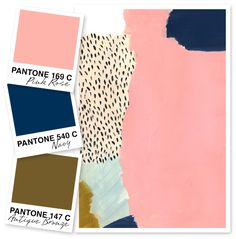 SEVEN: PANTONE: Rose, Navy, Olive, Bronze, plus some grey. The perfect grey. And these are the colours I love the most. Bathroom Color Schemes, Colour Schemes, Color Combos, Color Patterns, Navy Living Rooms, Gold Color Palettes, Teal And Pink, Color Palate, Baby Shower