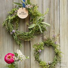 Send guests home with a fragrant reminder of your fresh spring wedding. To create the herb wreaths, simply twist fresh herbs around a circular wire frame. Having a big reception? Make mini-wreaths!