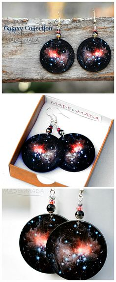 Universe Earrings Nebula Space Dangle Round Jewelry from MADEbyMADA
